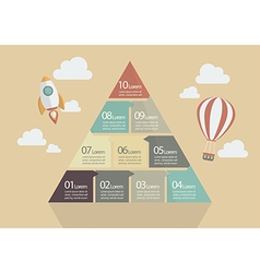 Ten step of pyramid chart infographic vector