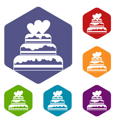 wedding cake icons set vector image
