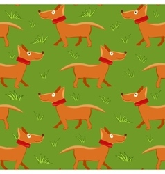 Seamless pattern with repeating dog on green grass vector