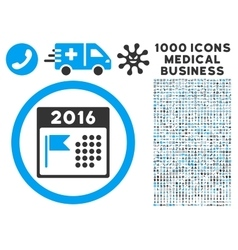 2016 holiday calendar icon with 1000 medical vector