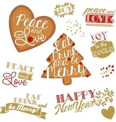 Set of christmas and ny stickers and logotypes vector