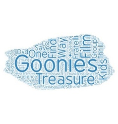 The goonies dvd review text background wordcloud vector