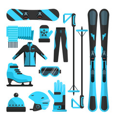 Flat icons set of skiing skating and vector