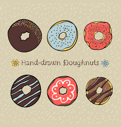 set of hand-drawn dougnuts vector image