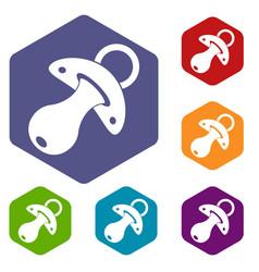 Baby pacifier icons set hexagon vector