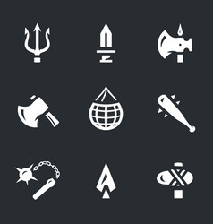 set of gladiator weapon icons vector image