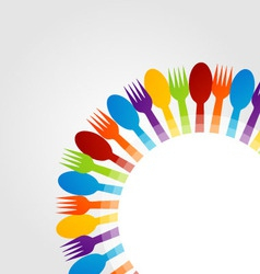Background with colorful spoons and forks vector
