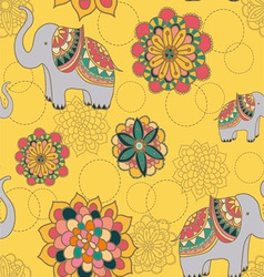 Seamless with indian elephants vector