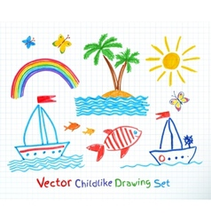 Summer seaside set vector