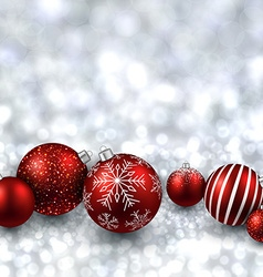 Silver background with red christmas balls vector