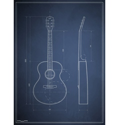 Blueprint drawing six-acoustic guitar vector