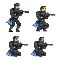 Navy seal crouching sprite vector