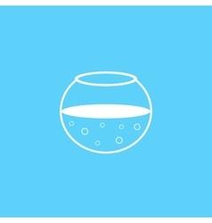 outline white aquarium icon on blue background vector image