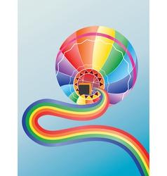 Air balloon with rainbow2 vector image vector image