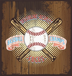 baseball champ wooden background vector image