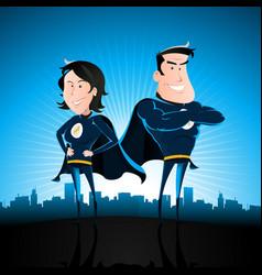 Blue superhero man and woman vector