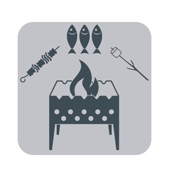 Brazier zephyr fish and kebab icon vector image
