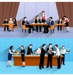 Business people lunch 2 banners composition vector