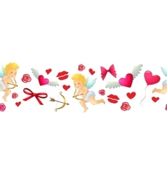 Cartoon valentine horizontal border vector