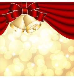Christmas background with red curtain and gold vector image vector image