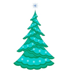 Christmas firtree with snowflakes vector