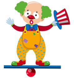 Clown balancing on blue beam vector
