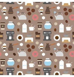 Coffee flat icons seamless pattern vector image vector image