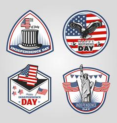 colored vintage independence day emblems set vector image