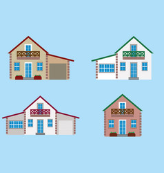 colorful residential house set vector image vector image