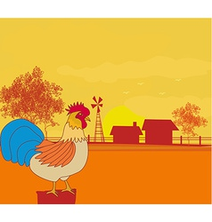 crowing rooster on farm backgrounds vector image