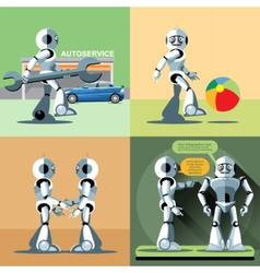 Digital silver happy robot set vector image vector image