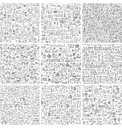 Doodles seamless pattern set vector image vector image