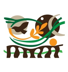ecology flying bird vector image