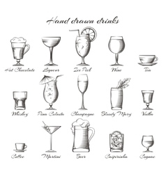 Hand drawn alcoholic and non-alcoholic drinks vector image vector image