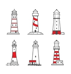 Icon or logo set of lighthouses vector