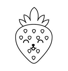 Kawaii strawberry cartoon vector