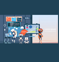 modern office business robots group working vector image vector image