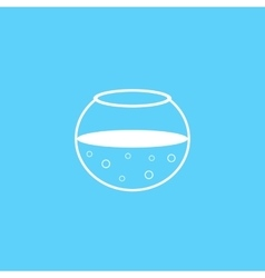 outline white aquarium icon on blue background vector image