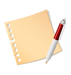paper note and pen vector image vector image