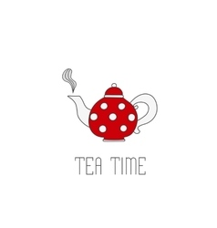 Polka dots teapot with tea on white background vector