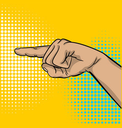 Pop art strong man hand show finger pointer vector