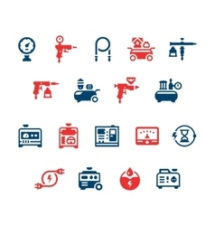 Set icons of electric generator and air compressor vector image vector image