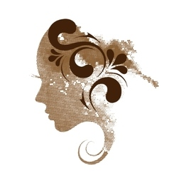 Silhouette of a profile of a young woman vector