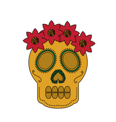 Skull flowers the day of the death mexican vector