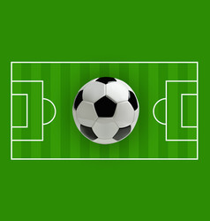 Soccer or football 3d ball on green field vector