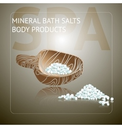 Spa background with sea salt on wooden spoon vector