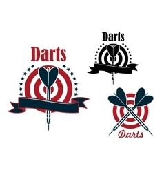 Sport game emblem with darts and board vector