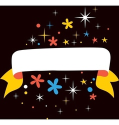 Stars flowers banner for text vector