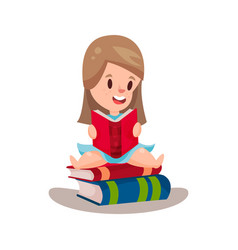 Sweet girl reading a book sitting on a pile of vector