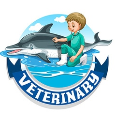 Veterinary sign with vet and dolphin vector image vector image